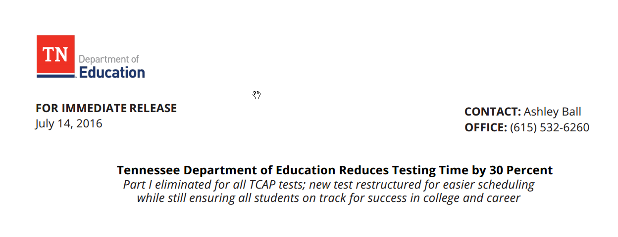 Tennessee Department of Education Reduces Testing Time by 30 Percent