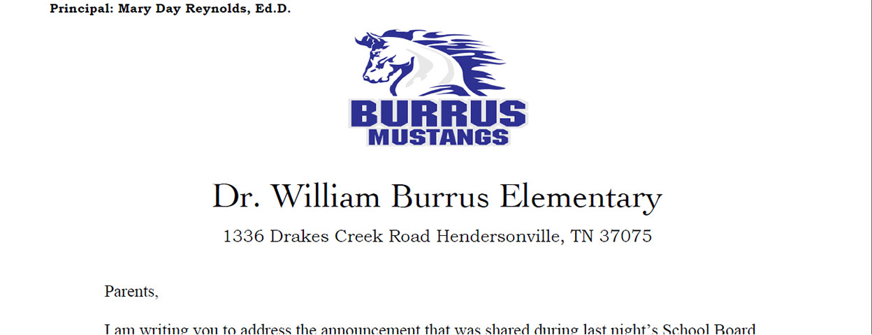 A letter from Dr. Reynolds regarding Burrus Elementary